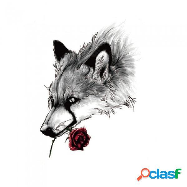 Patrón de lobo hb-889 no tóxico flash impermeable tatuaje temporal adhesivo para mujeres hombres adolescentes