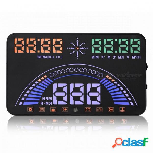 """S7 5.8"""" auto cabeza hud pantalla obd2 km / h advertencia de exceso de velocidad mph rpm brisa proyector"""