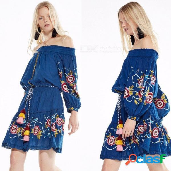 Vestido estilo bohemio de europa y américa bordado linterna de la manga de la borla del hombro vestidos para las mujeres azul / s