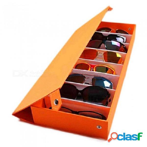 8 cuadrícula lentes de gafas de sol caja de almacenamiento gafas vitrina caja de herramientas ordenadas tela oxford con madera color negro