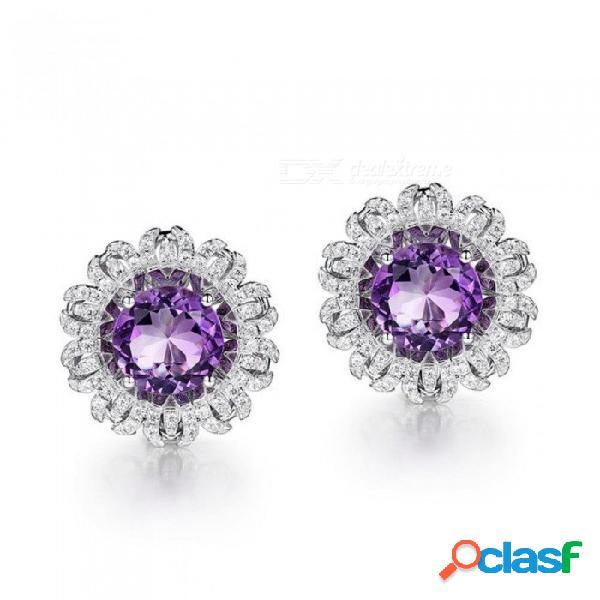 925 plata esterlina pendiente de oro blanco ronda amatista púrpura piedra elegante clip pendientes para mujer joyería fina