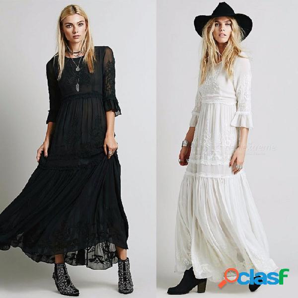 Bohemio maxi vestido bordado tres cuartos manga flare alta cintura o-cuello de compromiso vestidos de fiesta para las mujeres negro / s