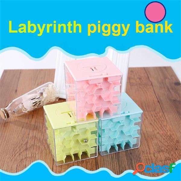 Cajas de ahorro 3d juego de rompecabezas bola rodante juguetes educativos para niños regalo banco laberinto cubo moneda moneda caso