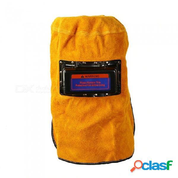Capucha de cuero casco de soldadura oscurecimiento automático lente de filtro soldador marrón cuero de buey seguridad casco de soldadura cómodo máscara amarilla