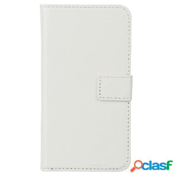 Cuero de protección pu + plástico completo caso cúbico con soporte / ranuras de tarjeta para samsung galaxy s5 - blanco