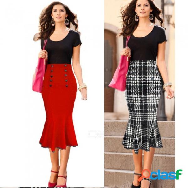 Europa y américa oficina señora estilo faldas botón de cintura alta falda sirena delgada para mujeres rojo / xxl