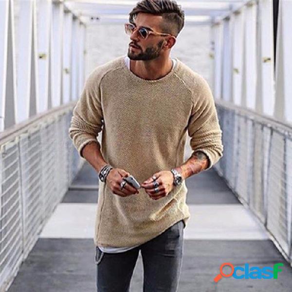Jersey de moda cuello redondo color sólido delgado suéter de punto, suéter fino de manga larga para hombres
