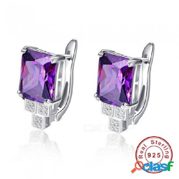 Pendientes piercing púrpura clip de diseño de las mujeres amatista pendientes de piedra del oído 100% plata 925 nupcial del banquete de boda joyería fina pendiente