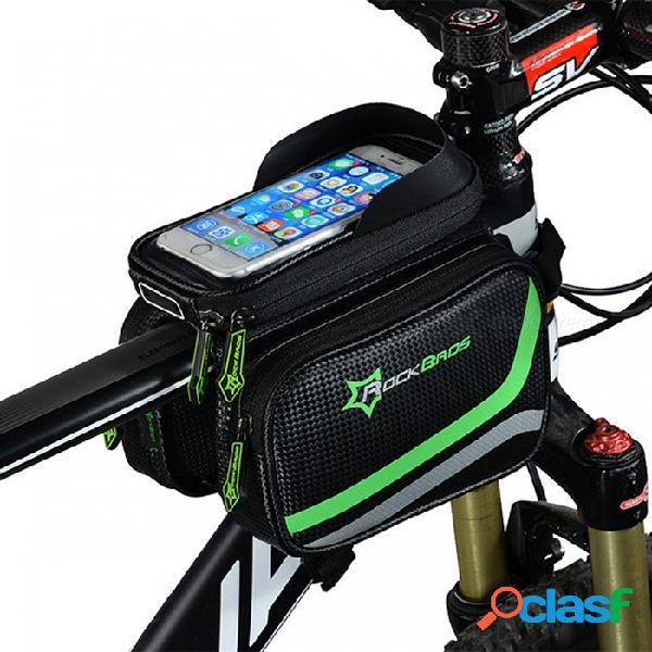 """Rockbros 5.8"""" bolso de la bicicleta a prueba de lluvia, bolso de la cabeza de mtb de la bici superior, alforja de ciclo de la bolsa doble del tubo superior"""