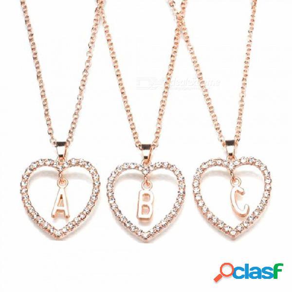 Romántica cubic zirconia amor corazón cristal colgante carta nombre collar, mujeres 26 cartas gargantilla joyas blanco
