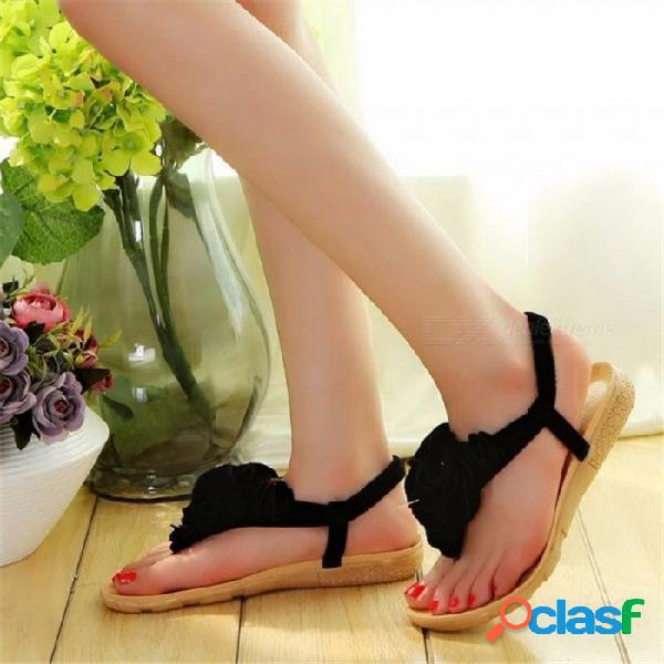 Sandalias de bohemia del verano de la flor de las mujeres, sandalias del dedo del pie sandalias planas de la playa chaussures, zapatos cómodos casuales del femme beige / 36
