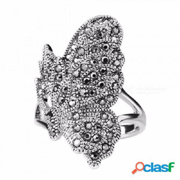 Anillo de mariposa de circonio cz negro único para mujer bohemia color plata animal de la vendimia joyería se puede emparejar 10