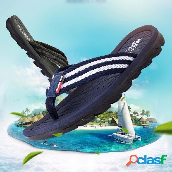 Chanclas de verano para hombres, sandalias de playa de alta calidad, zapatillas antideslizantes para hombre, zapatos casuales con punta de clip azul marino / 45