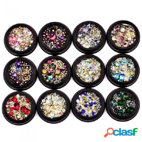 Estilo mixto 3d nail art decoraciones rhinestone glitter nail accesorios de joyería gema 12 colores disponibles blanco