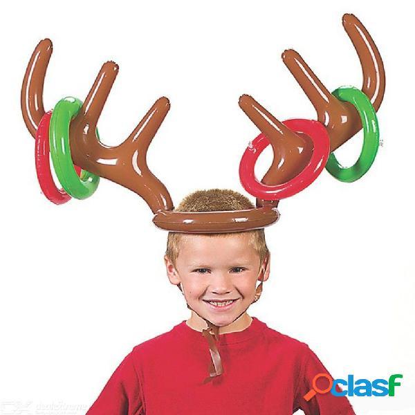 Inflable de pvc reno de navidad asta de sombrero anillo tirar divertido juego de juguete fiesta de navidad decoración