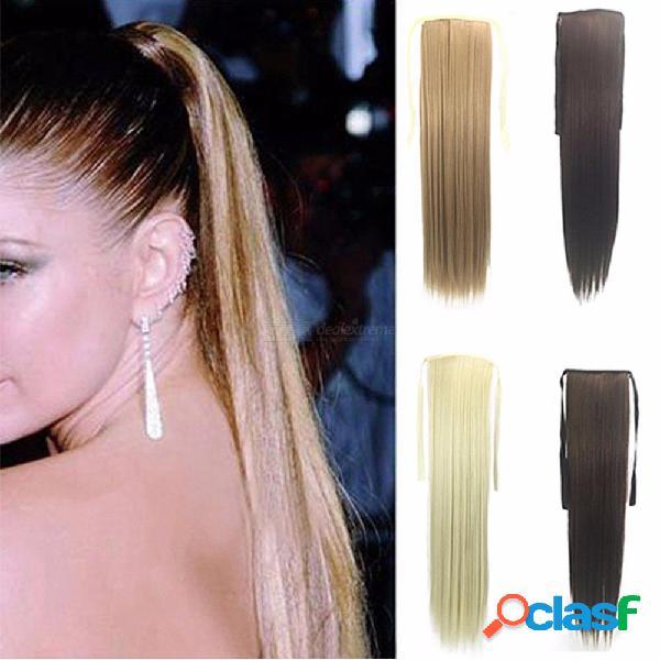 Larga cola de clip recta recta cabello falso cola de caballo pelos con horquillas de pelo sintético extensión