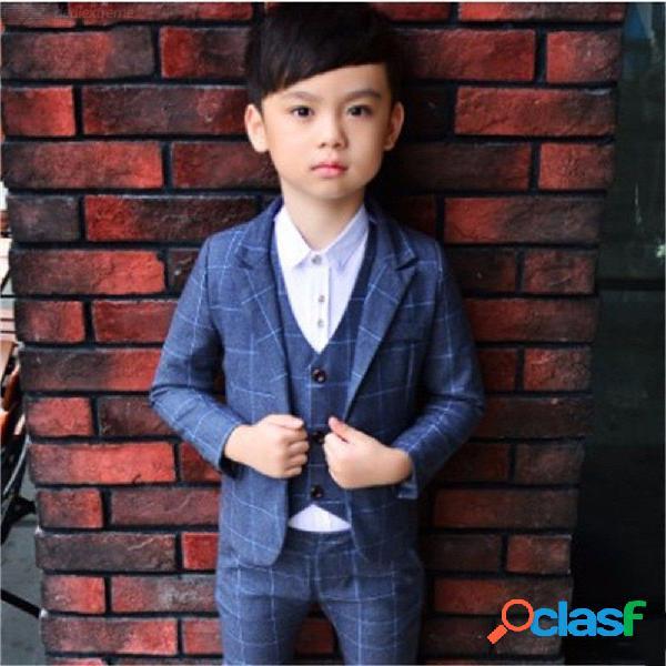 Niño se adapta a los niños botón único botonadura traje de boda especial chaqueta pantalones chaleco conjunto