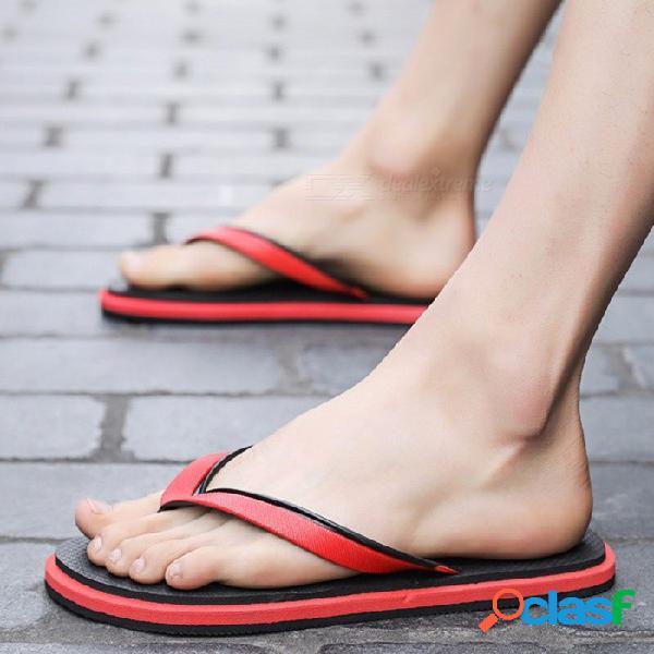 Sandalias de playa de los hombres de eva del verano, zapatillas masculinas antideslizantes, zapatos casuales del dedo del pie del clip rojo / 43