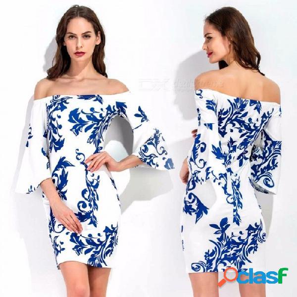 Vestido de cuello de slash de verano vestido de manga corta con mangas de tres cuartos estampado floral vestidos de lápiz delgado para mujeres multi / s