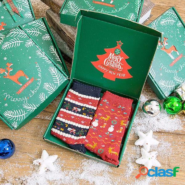 2 pares / caja de regalo de navidad par de calcetines, calcetines con dibujos animados de navidad vintage para hombres y mujeres