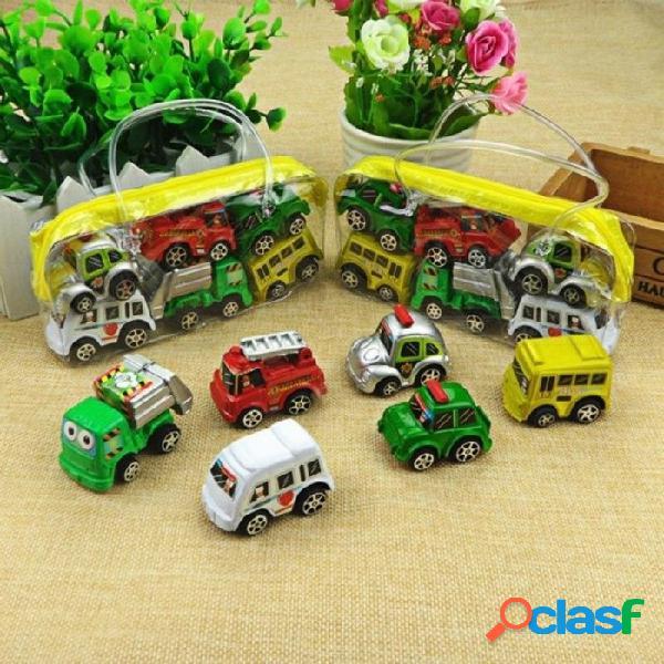 6 unids / lote tire hacia atrás los juguetes del coche niños del coche de carreras de coches mini bebés de dibujos animados tire hacia atrás bus camión niños juguetes para niños niño regalos