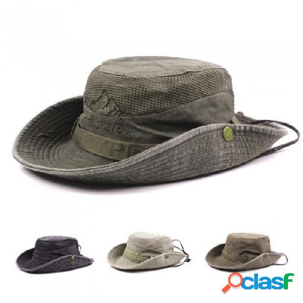 Bob de verano sombreros de cubo al aire libre pesca de ala ancha sombrero de protección uv hombres senderismo sombrero gorro sombrero para el sol para los hombres caqui