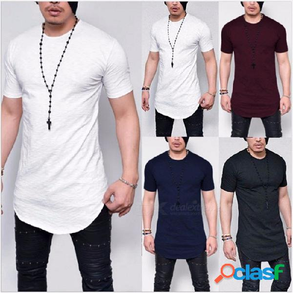 Camiseta de manga corta de los nuevos hombres delgados del color sólido del verano, camiseta ocasional del o-cuello, ropa simple de los hombres de la manera