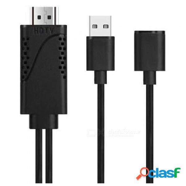 Conmutador hdmi cable de video hd con adaptador hdtv cable con cable de conexión tv para iphone / android - negro