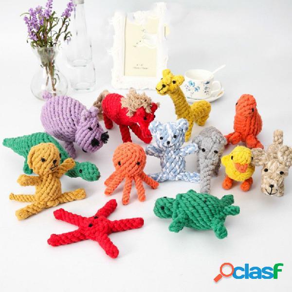 Juguetes para mascotas tejido a mano cuerda de algodón tejido animal caballo pato león adecuado para jugar juegos interactivos