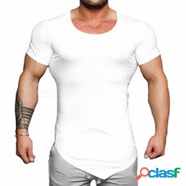 Nueva camiseta de manga corta de los hombres del color sólido más tamaño del verano, camiseta ocasional del o-cuello, hombres simples de la manera que arropan blackm