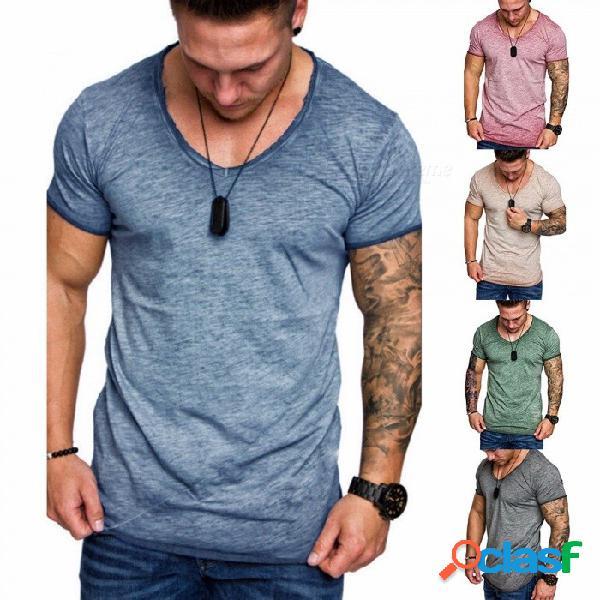 Nueva camiseta de manga corta de los hombres del empalme del verano nuevo, camiseta ocasional del o-cuello, ropa de los hombres simples de la manera azul / m