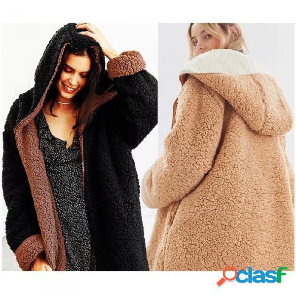Nueva velocidad de invierno de cachemira suelta de doble cara gruesa más terciopelo con capucha chaquetas abrigos de pelo de cordero para las mujeres negro / talla única