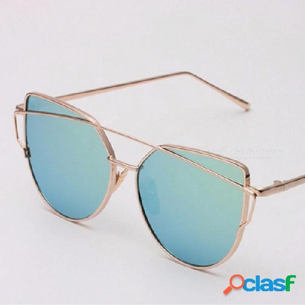 Nuevas gafas de sol estilo ojo de gato para europa y el estilo de estados unidos con película de color metal y marco vintage