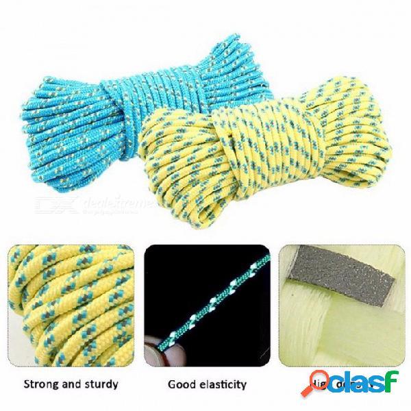 Nuevo 5mm negrita cuerda reflexiva 20 m al aire libre tendedero de ropa cuerda cortavientos herramientas de camping al aire libre azul
