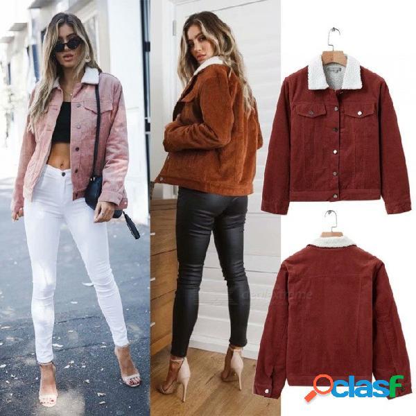 Otoño invierno chaquetas de lana de cordero para mujer chaqueta de pana gruesa linda prendas de abrigo abrigo cálido marrón / s