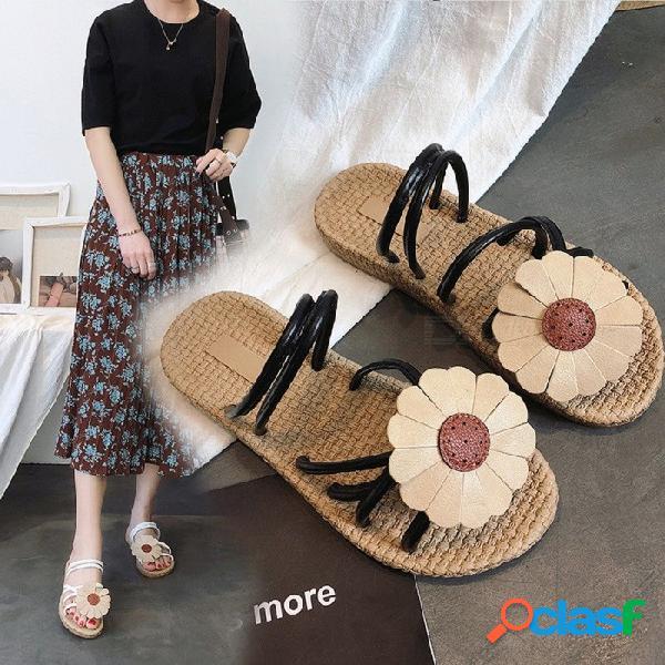 Sandalias de gladiador simples de verano, flor decorativa bohemia ahueca hacia fuera zapatillas planas para mujer negro / 35