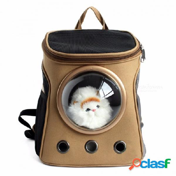 Suministros para mascotas lonas cápsulas para mascotas mochila transparente transpirable hombros fuera portátil para gatos pequeños perros amarillo