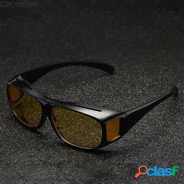 Visión nocturna gafas de sol hombres gafas coche conducción nocturna mejorado luz lluvioso nublado niebla día