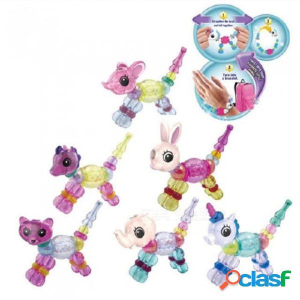 Animales trucos de magia creativo elasticidad niños pulsera de cadena trenzado diy pulseras costura mágica mascota 10 unids aleatorio 10 unids
