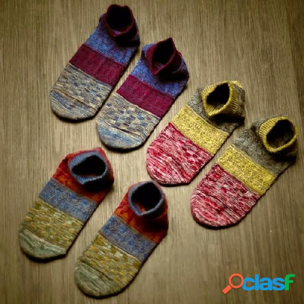 Calcetines cortos de los hombres, calcetines casuales de las líneas gruesas del estilo nacional, calcetines tobilleros de la boca baja de la moda de la manera (1 par) azul