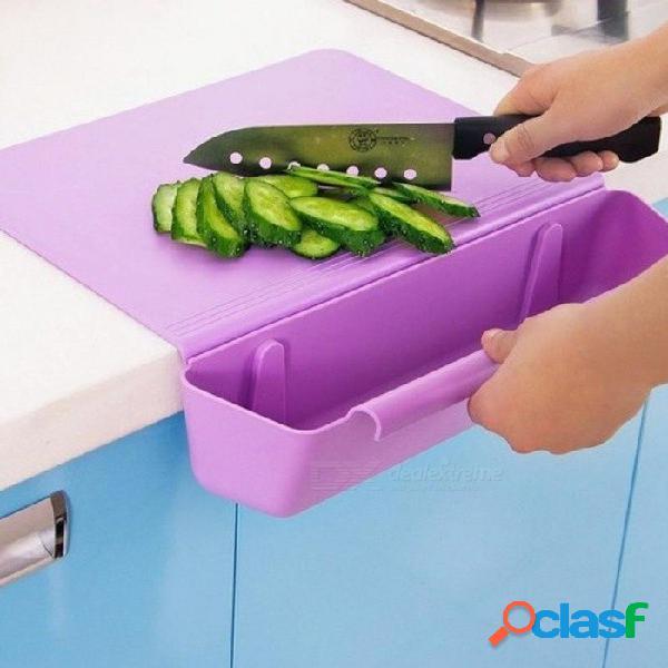 Cocina 2-en-1 de almacenamiento con tabla de cortar de borde contrario con papelera de plástico espesar tabla de cortar azul