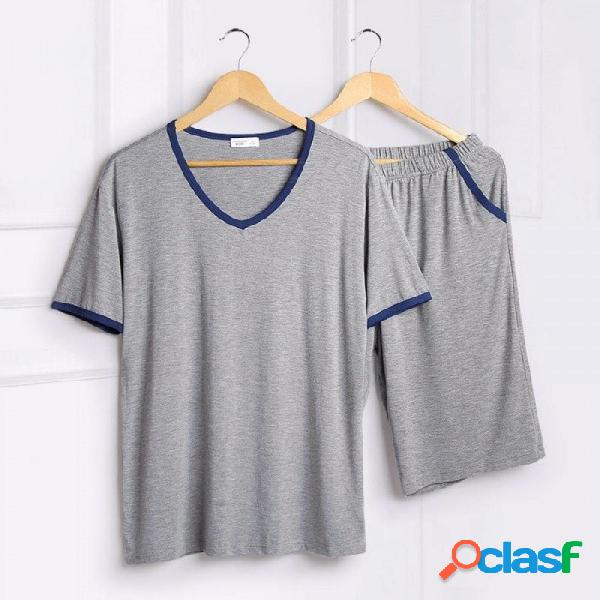 Conjuntos de pijamas de verano para hombre pijamas finos modales color sólido de manga corta camiseta + pantalones ropa para el hogar conjunto de 2 piezas azul / m