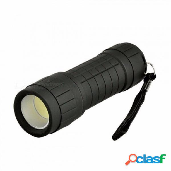 Lámpara de linterna led con lámpara cob led pequeña e impermeable, mini linterna de plástico portátil, reflector para acampar práctico blanco / negro