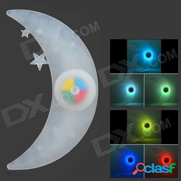 Lámpara en forma de luna de 3 modos de luz led de la bici - blanco + blanco translúcido (1 x cr2032)