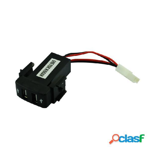 12v ~ 24v a 5v / 2.1a convertidor del inversor de corriente del coche del vehículo del puerto usb 2.0 para nissan - negro