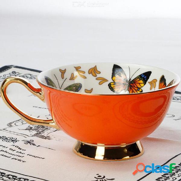 Conjunto de taza de café de iris de estilo europeo porcelana china té taza de leche y platillo con cucharas regalo creativo drinkware