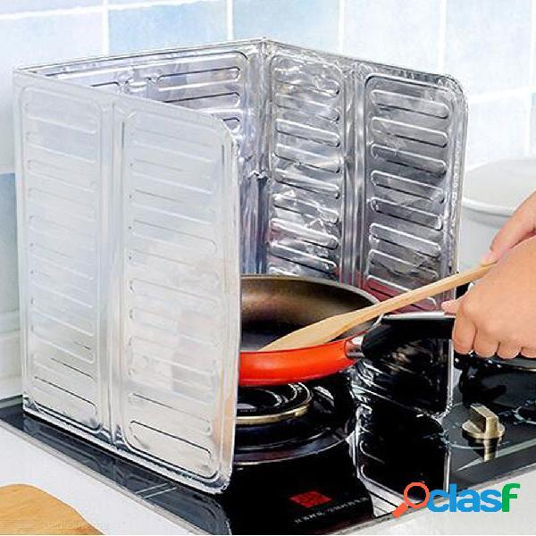 Nuevo papel de aluminio placa de deflector de aceite de cocina sartén saltear cubierta de la pantalla de salpicaduras de aceite anti deflector salpicadura herramientas de cocina