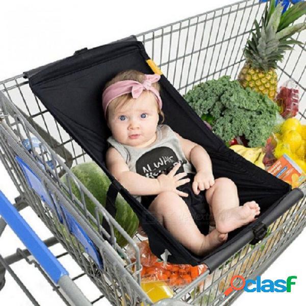 Plegable bebé niños carro de compras cojín portátil niños carro almohadilla bebé compras push carro protección cubierta bebé silla asiento estera negro