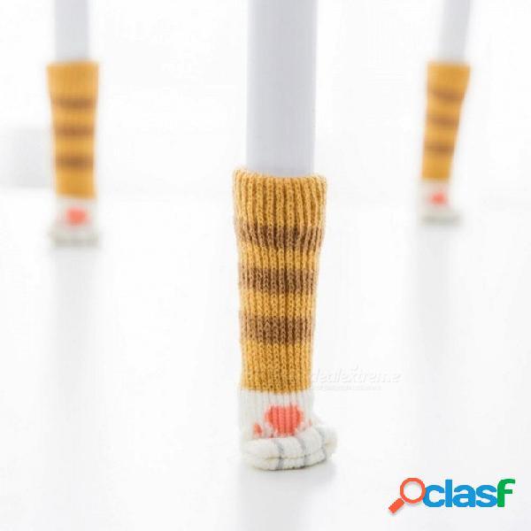 4 unids tejer gato estilo silla pierna calcetines muebles para el hogar patas piso protectores antideslizantes patas de la mesa cubierta evitar gato rascarse