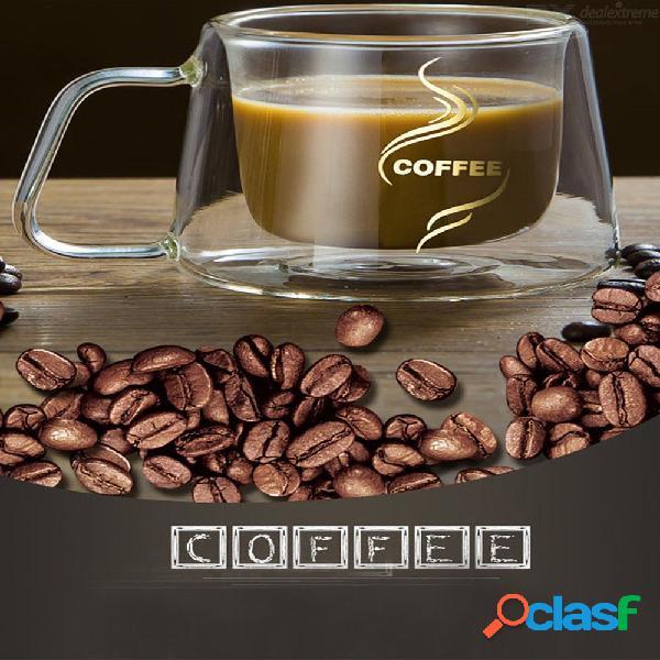 Alta taza de café creativo de doble capa de alta calidad de vidrio transparente de alta resistencia al borosilicato